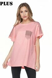 Aronia Plus Size Tunic Top New Beautiful Lt Coral Embellished Front And Sleeves