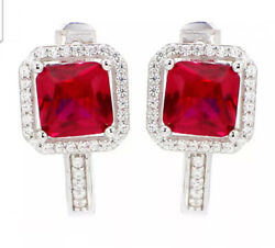 Christmas 1.28ct Natural Round Diamond 14k White Gold Ruby Hoops Clip On Earring