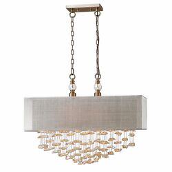 Santina Xxl 30 Champagne Crystals Metal Pendant Hanging Shade Chandelier 22033