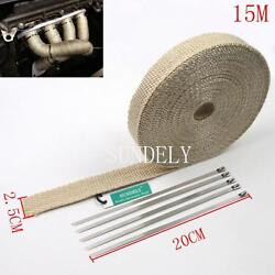 Creamy Car Exhaust Header Heat Pipe Wrap Tape Turbo 15m + 5 Stainless Ties White