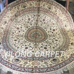 Yilong 8and039x8and039 Handknotted Silk Carpet Medallion Round Oriental Area Rug Zw144c