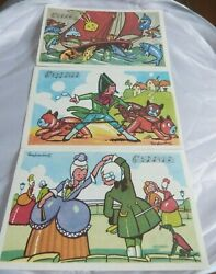 Vintage French Childrenand039s Songs Educational Cards Illustrations By Ray Lambert