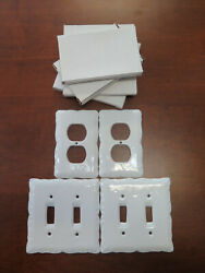 Lot Of 4 White Porcelain Double Light Switch Wall Plate Outlet Ceramic Cover Nib