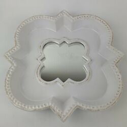 Partylite Pillar Candle Holder Ceramic Plate With Center Mirror