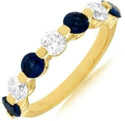1.75ct Diamond And Aaa Sapphire 14kt Yellow Gold 3d 7 Stone Share Prong Love Ring
