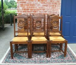 Set Of 6 French Antique Oak Brittany Rush Seat Dining Chairs