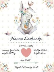 Personalised Birth Metric Certificate Nursery Decoration Poster Baby Gift A3