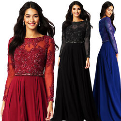 Aofur Embroidery Lace Chiffon Long Sleeve Formal Evening Party Formal Prom Dress $18.98