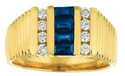 1.29ct Diamond And Aaa Sapphire 14k Yellow Gold Round And Baguette Channel Mens Ring