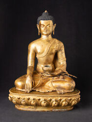 High Quality Old Bronze Nepali Buddha From Nepal Middle 20th Century