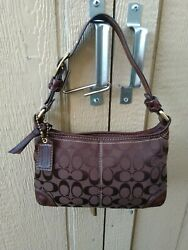 Coach Bleecker Brown Signature Canvas amp; Leather Hobo Small Shoulder Bag Purse $95.00