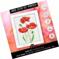 Counted Cross Stitch Kit 'poppies'   Poppy Wildflowers Hand Embroidery Set   ...