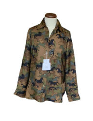 Authentic Hermes Womenand039s Silk Blouse W/ Camouflage Horse Print