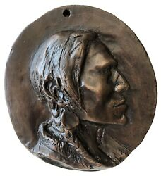 """Charles M. Russell """"indian Portrait Plaque"""" Bronze Numbered 5-30 With Coa"""