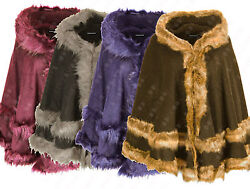 G11 New Womens Faux Layer Fur Hooded Ladies Cape Poncho Romay In Plus Size 08-26