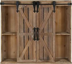 Kate And Laurel Cates Wood Wall Storage Cabinet With Sliding Barn Doors 2
