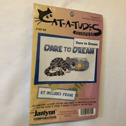 """Cat a tudes Cross Stitch Cat Kit. Dare To Dream. Janlynn Everthing Included 7x5"""""""