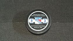 Harry Howell And Andy Bathgate Jersey Retirement Night Game Puck New York Rangers