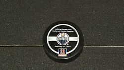 Mark Messier Jersey Retirement Night Official Game Puck Edmonton Oilers Nhl