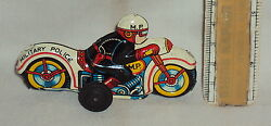 Nomura Friction Military Police Bike Motor Cycle Old Vintage Tin Plate Toy Japan