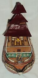 Vintage Battery Operated Tin Plate Ship Toy Modern Toys 1960 Japan