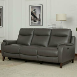 Kuka 3 Seater Grey Leather Power Reclining Sofa With Power Headrests