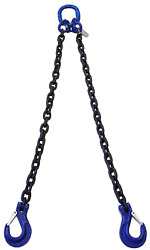3/8 X 5and039 Dos Double Leg Lifting Chain W/sling Hooks Grade 100
