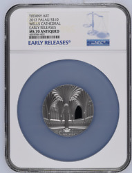 Art Wells Cathedral 2017 Palau 2oz Silver Coin 10 Ngc Pf 70 Antiqued Er