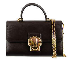 Dolce And Gabbana Palmellato Leather Lucia Von Bag Phone Wallet Brown Gold 08734