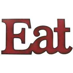 Eat - Kitchen Decor Dining Room Wall Vintage Style Sign Rustic Red Wood New