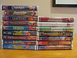 16 Disney Vhs Vcr Tapes = 5 Masterpiece Collection, 4 Diamond Classics, 7 Misc.