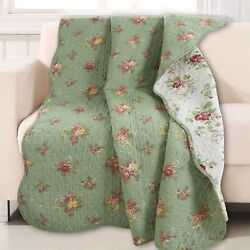 Green Vintage Blossom Floral Printed Reversible Cotton Quilted Throw