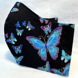 Designer Butterfly Metallic FABRIC Face Mask-FILTER POCKET-Handmade-Cotton Cover $12.95