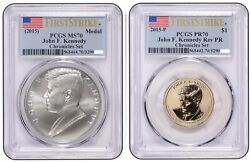 2015 John F Kennedy Coin And Chronicles Dollar Pcgs Reverse Pr70and Ms70 Fs