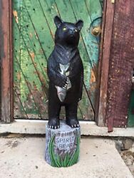 John Gallagher 6 Foot Carved Wooden Black Bear Statue Fish
