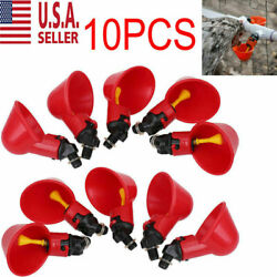 10PC Poultry Water Drinking Cups Chicken Hen Plastic Automatic Drinker USA NEW