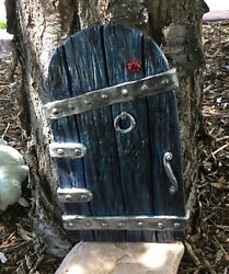 Large Fairy Garden Gnome Door 14 Inches Tall, Blue, Tree Yard Decor New