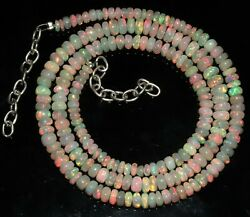 Natural Genuine Ethiopian Fire Opal Bead Necklace 4to6mm16+1.5adjustable Chain