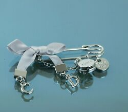 Authentic Christian Dior Cd Logo Silver Pin W/ Ribbon Brooch Charm Accessories