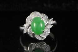 Platinum Natural Apple Green Jade Round Marquise Baguette Diamond Cocktail Ring