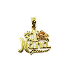 14k Yellow Gold Number 1 Nana Charm Necklace Pendant 1.1