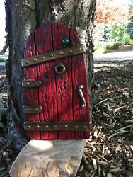 Large Fairy Garden Gnome Door 14 Inches Tall, Red, Tree Yard Decor New
