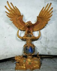 22.8 China Antique Animal Sculpture Brass Gold Eagle Statue Old Copper Zao