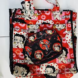 Betty Boop Red Heart Tote Bag And Mini Make Up Bag