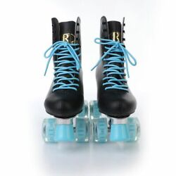 Women Genuine Leather Roller Skates Shoes Double Line 4 Wheels With Flash Led
