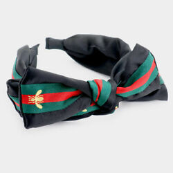 Designer Style Red Green Stripe Ribbon Bow Tie Gold Bee Black Knotted Headband $11.95