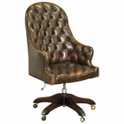 Wade Upholstery Vintage Brown Leather Chesterfield Captains Directors Chair