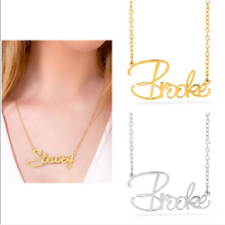 Personalized Women#x27;s Any Name 14K Gold Necklace Silver Plated Pendant Necklace $28.20