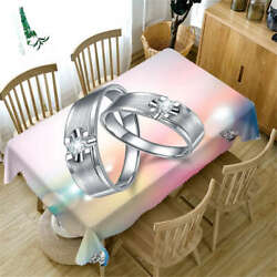 Silver Ring Halo 3d Tablecloth Table Cover Cloth Rectangle Wedding Party Banquet