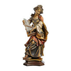 Statue Of St. Cecilia Of Rome With Organ In Painted Wood From Val Gardena